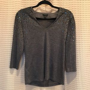 ANN TAYLOR PETITE Charcoal sequined blouse